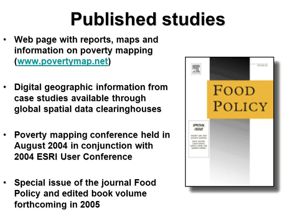 Published studies Web page with reports, maps and information on poverty mapping (www.povertymap.net)