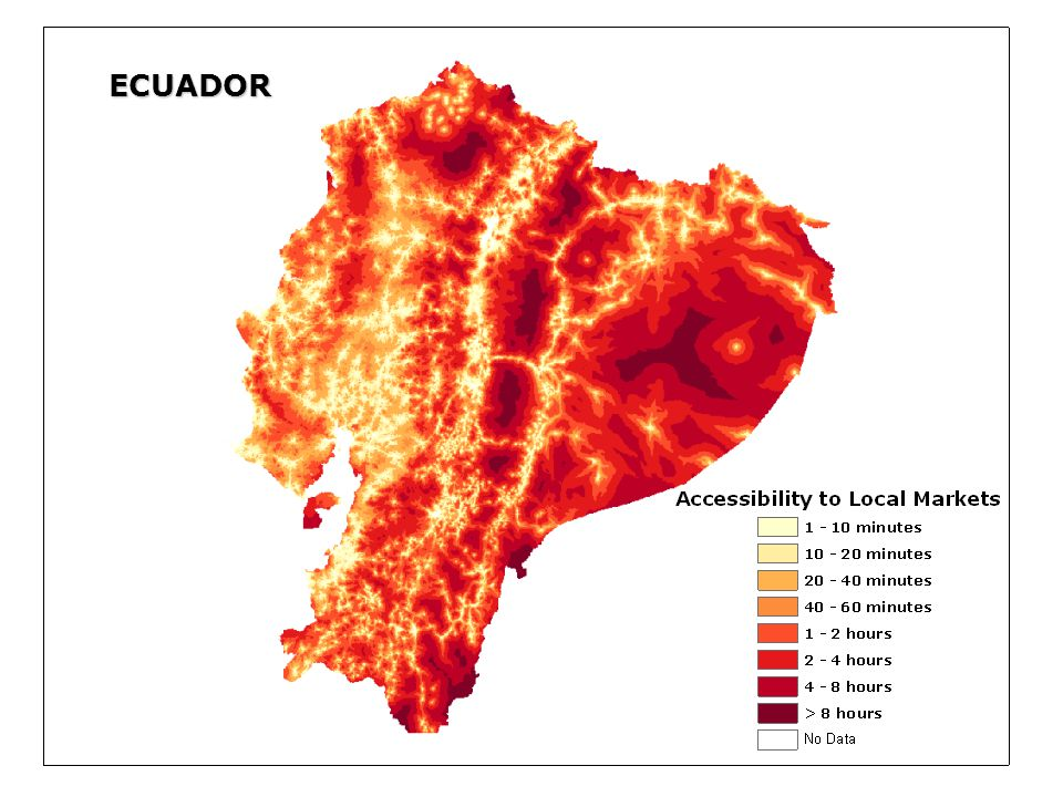 ECUADOR Grid file: timetopo_ll (Accessibility to Local Markets)