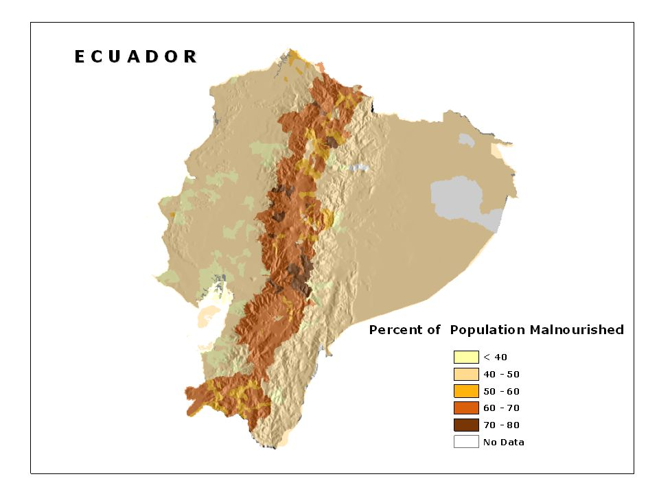 Malnutrtion in Ecuador is clearly greater in the Andean Mountains, relative the Amazon and coastal regions.