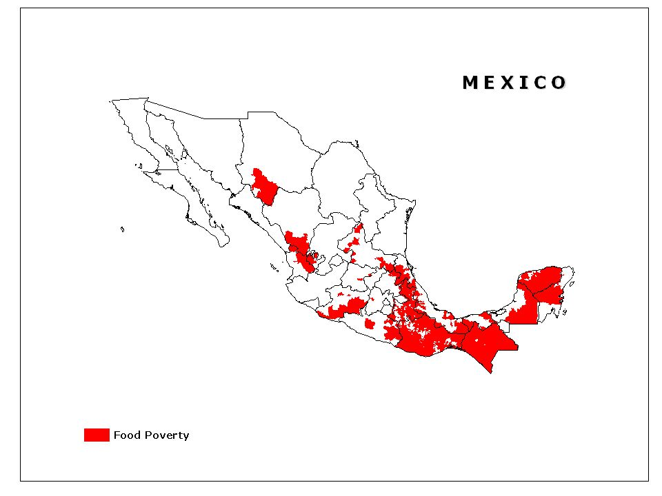 This map show areas where over 50 % of the population falls below the food poverty line in Mexico – as established by the Mexican Committee on Food Security.