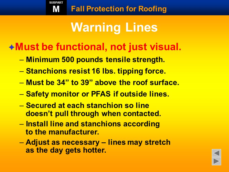 Warning Lines Must be functional, not just visual. M