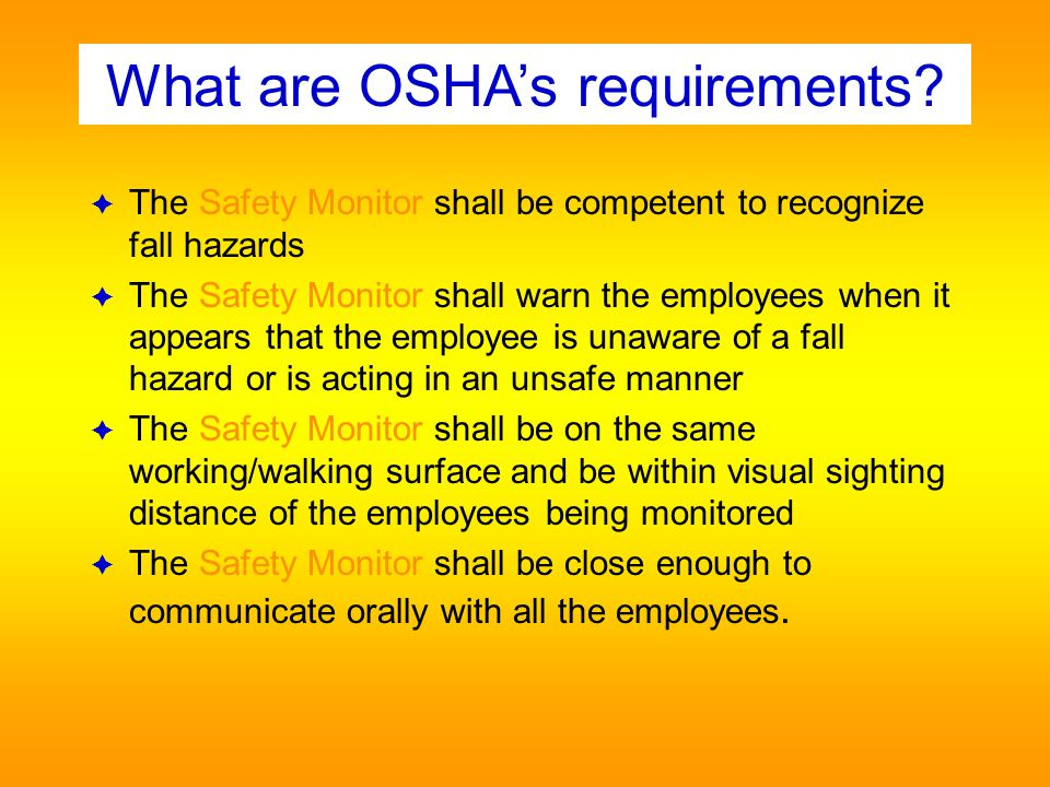 What are OSHA's requirements