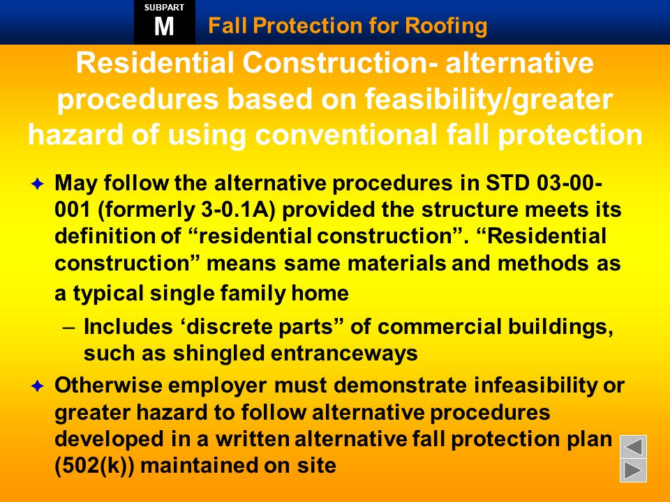 SUBPART M. Fall Protection for Roofing.
