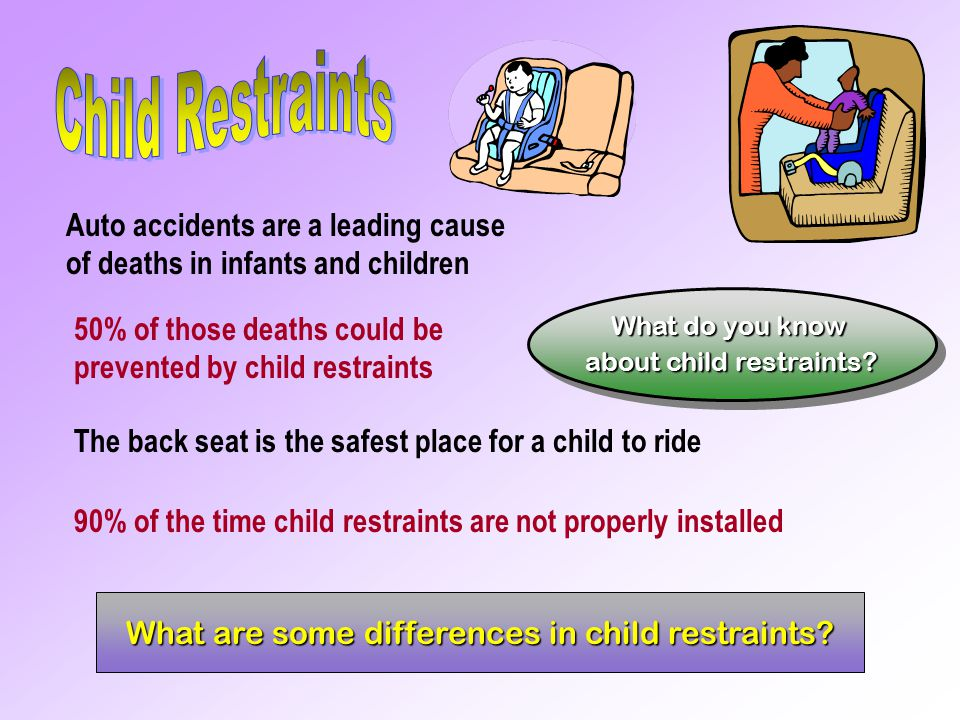 Child Restraints Auto accidents are a leading cause of deaths in infants and children.