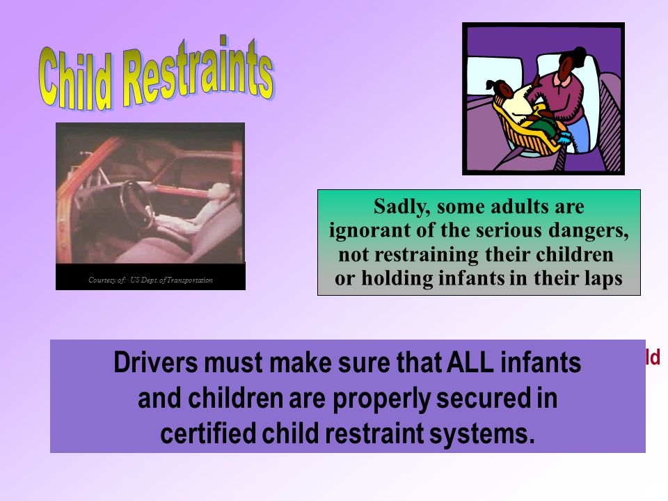 Child Restraints Sadly, some adults are. ignorant of the serious dangers, not restraining their children.