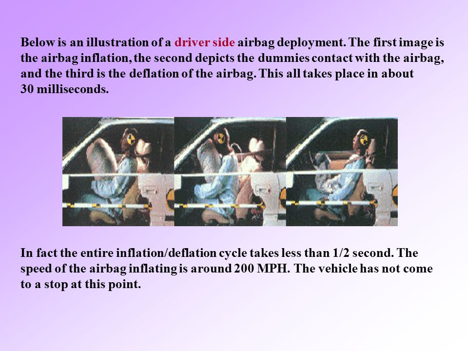 Below is an illustration of a driver side airbag deployment