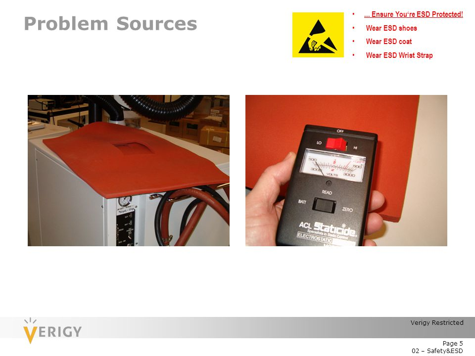 Problem Sources ... Ensure You're ESD Protected! Wear ESD shoes