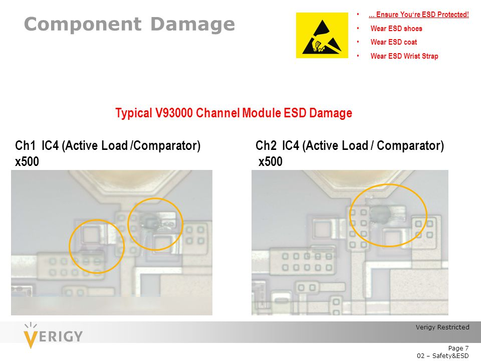 Typical V93000 Channel Module ESD Damage
