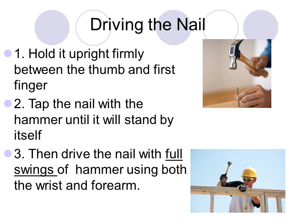 Driving the Nail 1. Hold it upright firmly between the thumb and first finger. 2. Tap the nail with the hammer until it will stand by itself.
