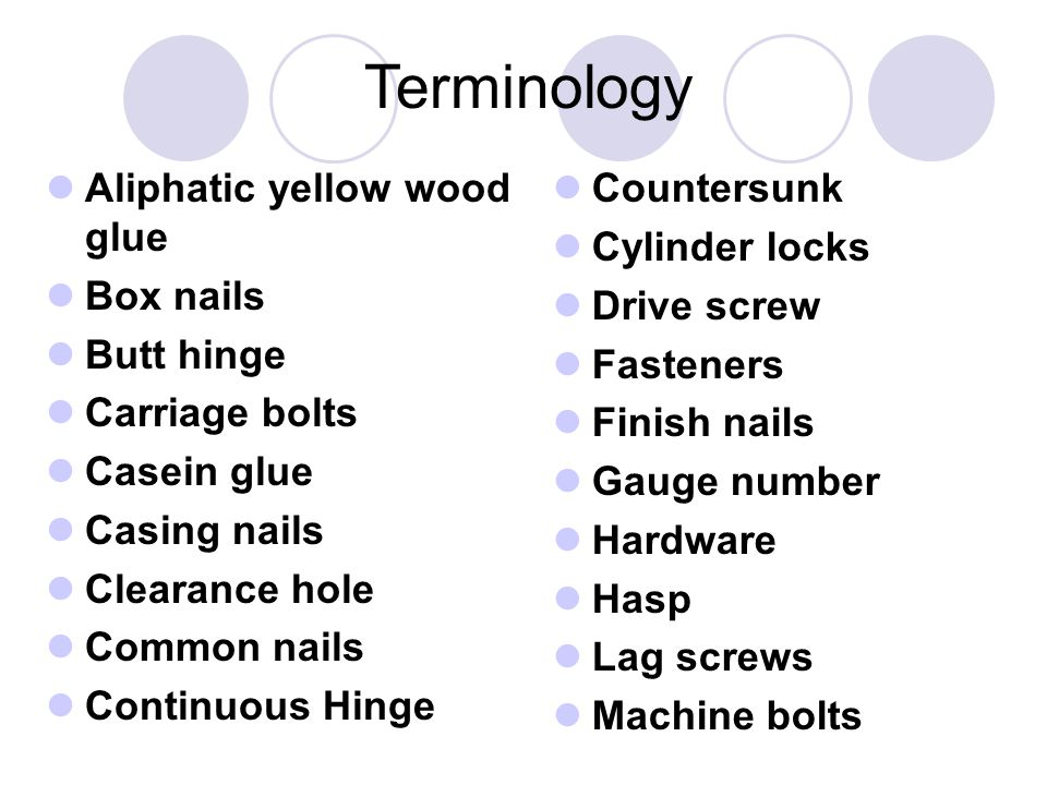Terminology Aliphatic yellow wood glue Box nails Butt hinge