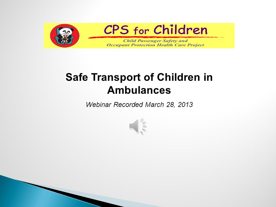 Safe Transport of Children in Ambulances