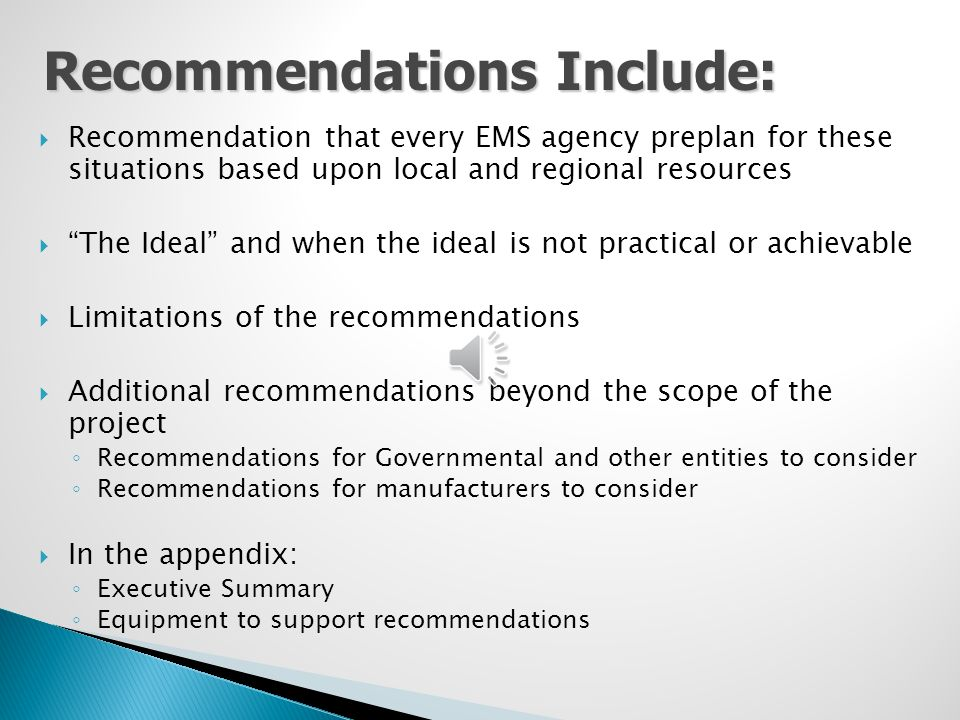 Recommendations Include: