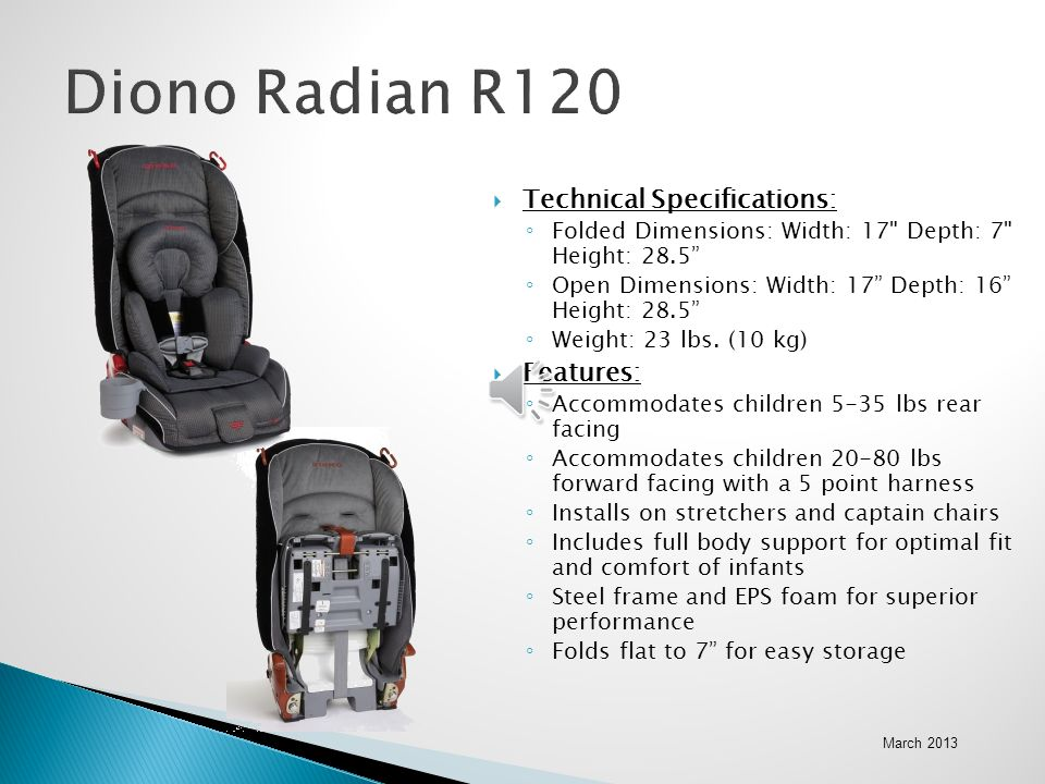 Diono Radian R120 Technical Specifications: Features: