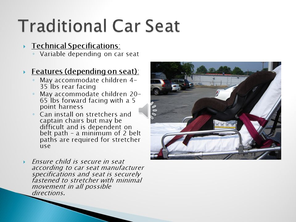 Traditional Car Seat Technical Specifications: