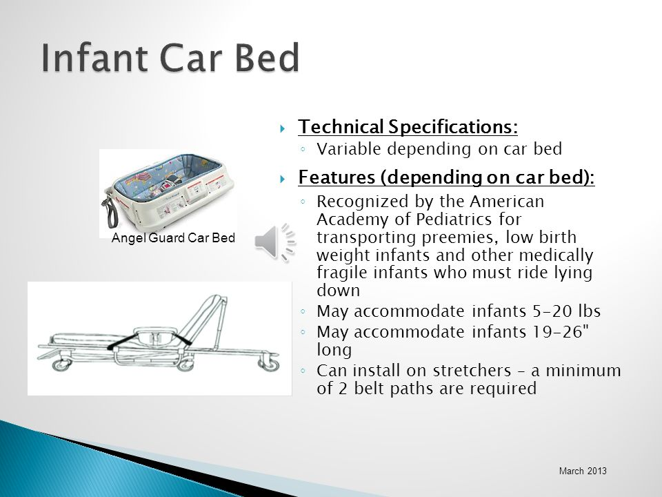Infant Car Bed Technical Specifications: