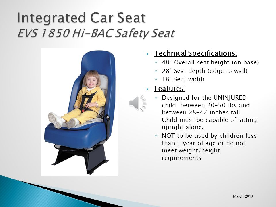 Integrated Car Seat EVS 1850 Hi-BAC Safety Seat