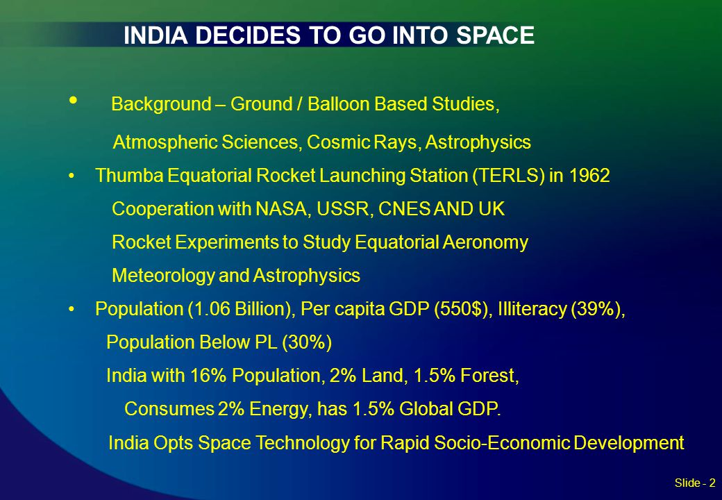 INDIA DECIDES TO GO INTO SPACE