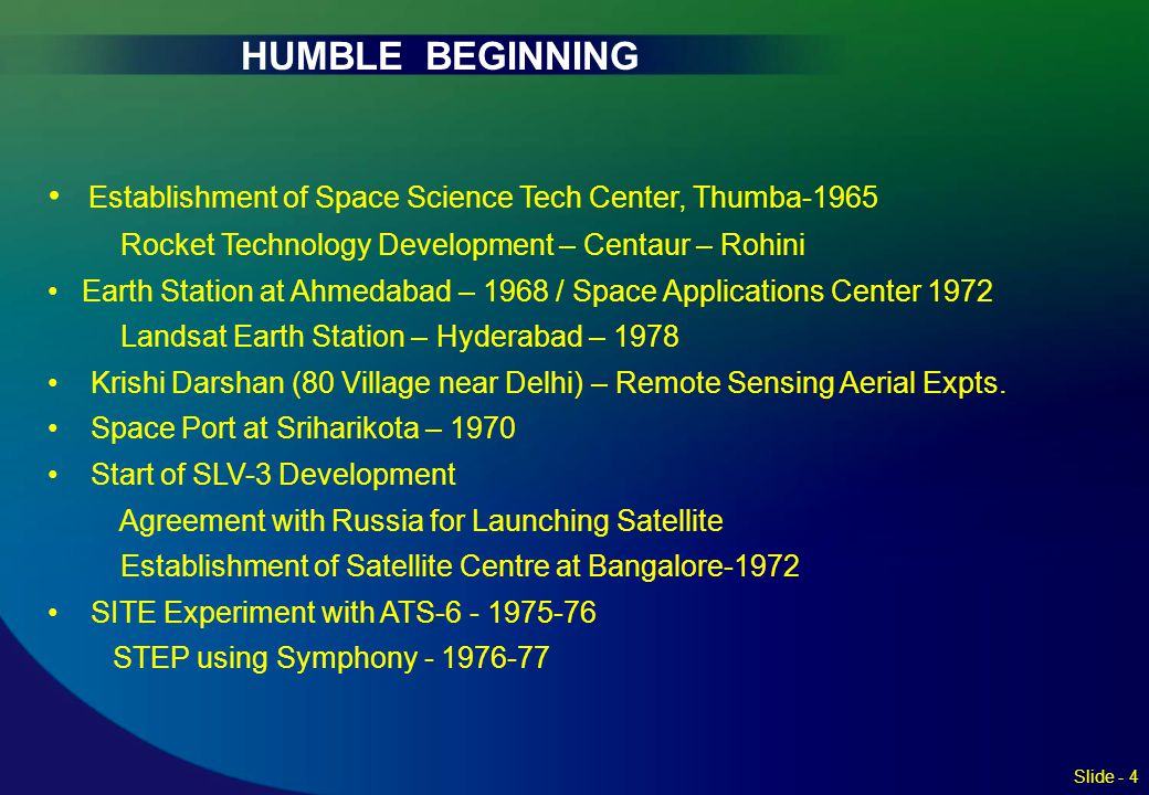 HUMBLE BEGINNING Establishment of Space Science Tech Center, Thumba-1965. Rocket Technology Development – Centaur – Rohini.