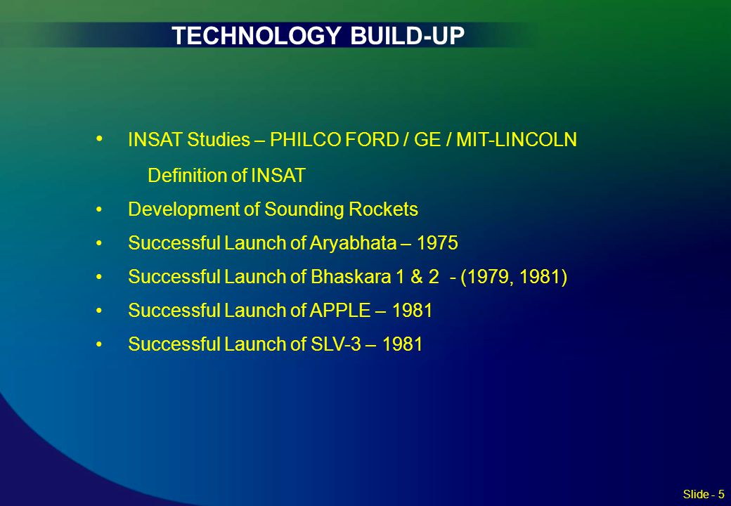 TECHNOLOGY BUILD-UP INSAT Studies – PHILCO FORD / GE / MIT-LINCOLN