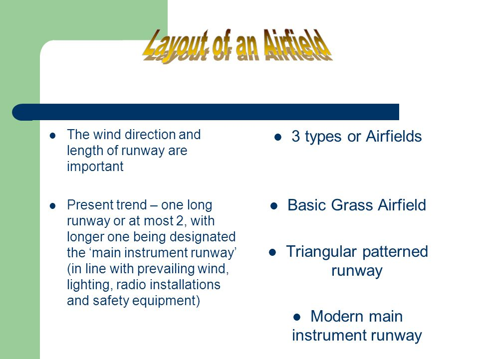 Layout of an Airfield 3 types or Airfields Basic Grass Airfield