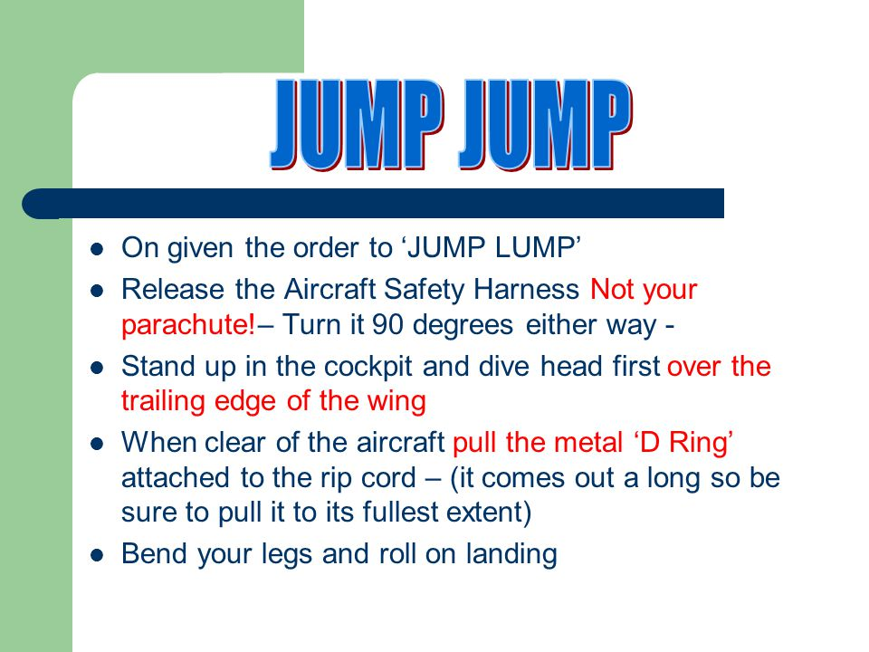 JUMP JUMP On given the order to 'JUMP LUMP'