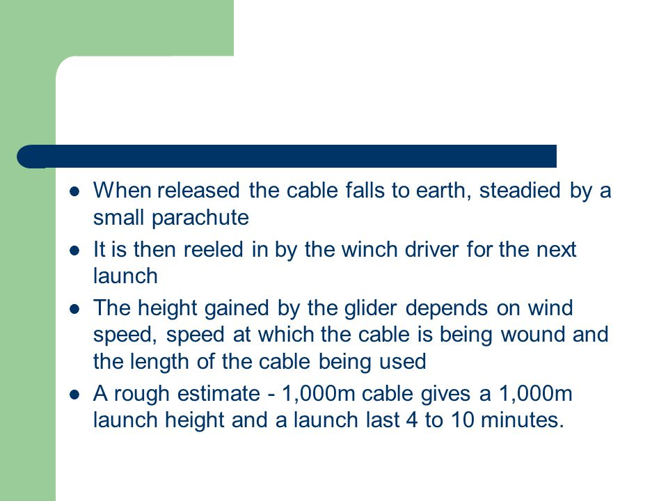 When released the cable falls to earth, steadied by a small parachute