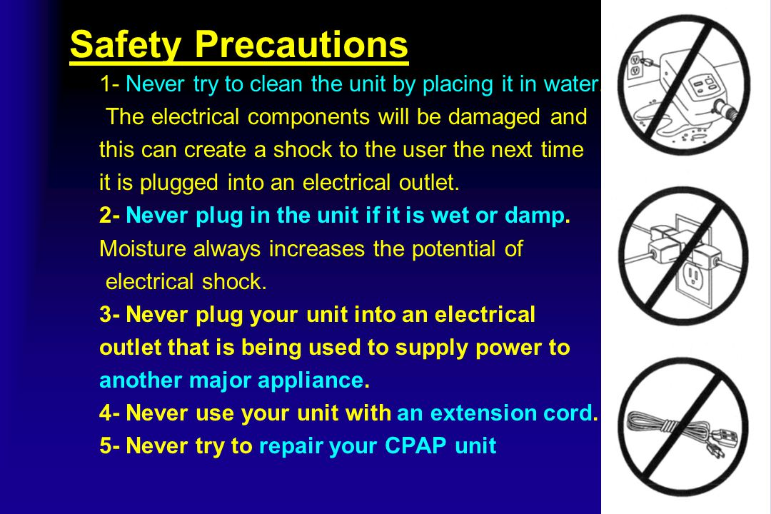 Safety Precautions 1- Never try to clean the unit by placing it in water. The electrical components will be damaged and.