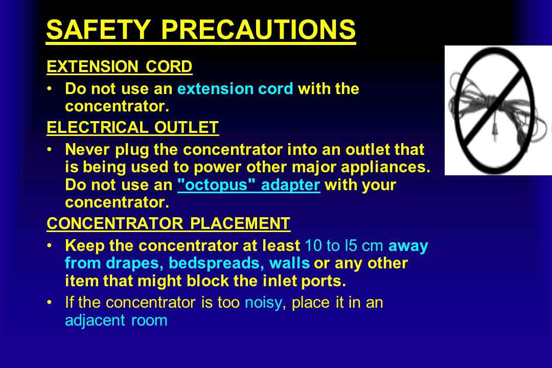 SAFETY PRECAUTIONS EXTENSION CORD