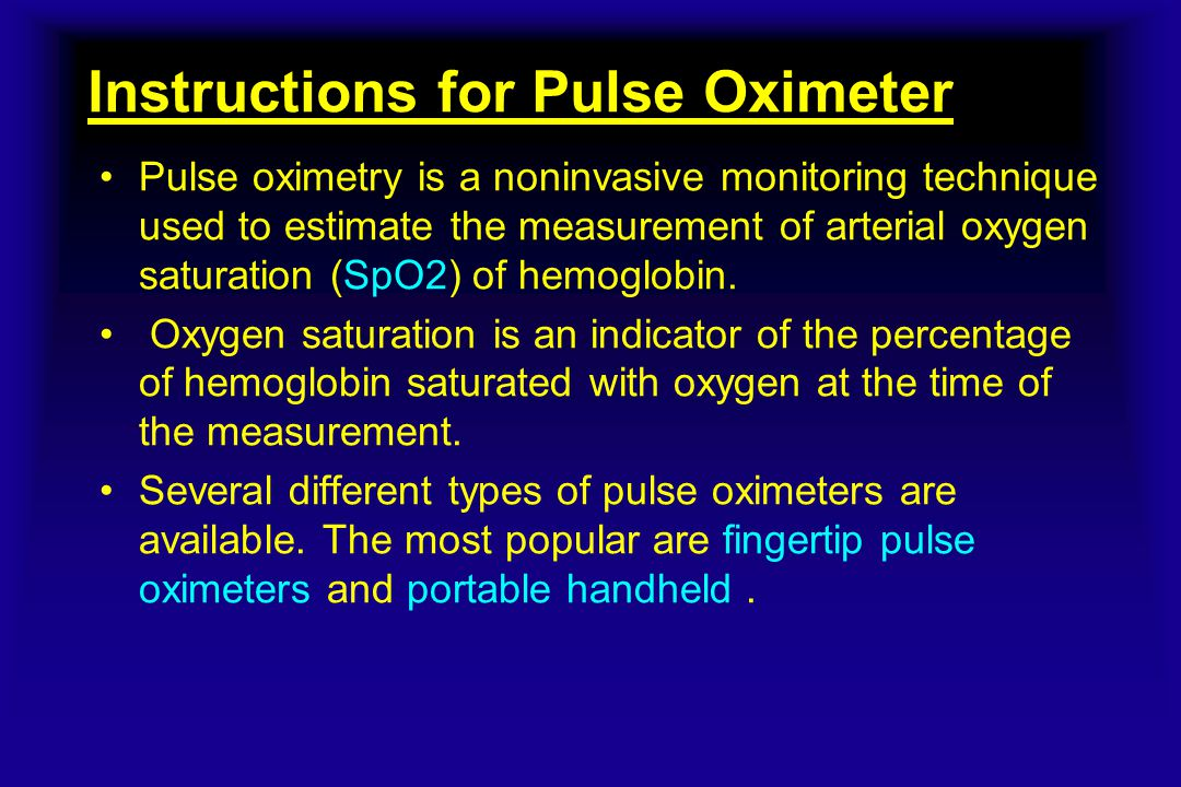 Instructions for Pulse Oximeter