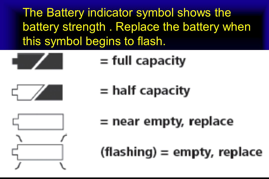 The Battery indicator symbol shows the battery strength