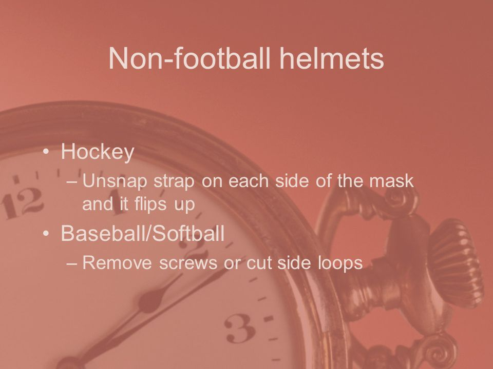 Non-football helmets Hockey Baseball/Softball