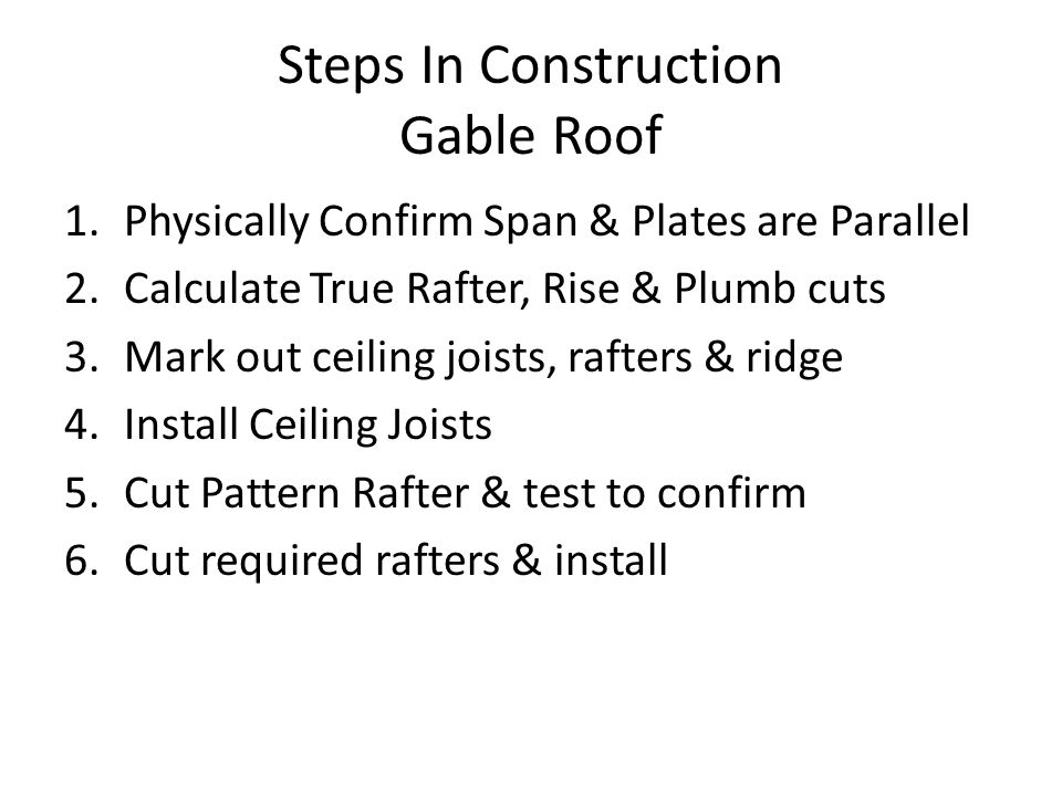 Steps In Construction Gable Roof