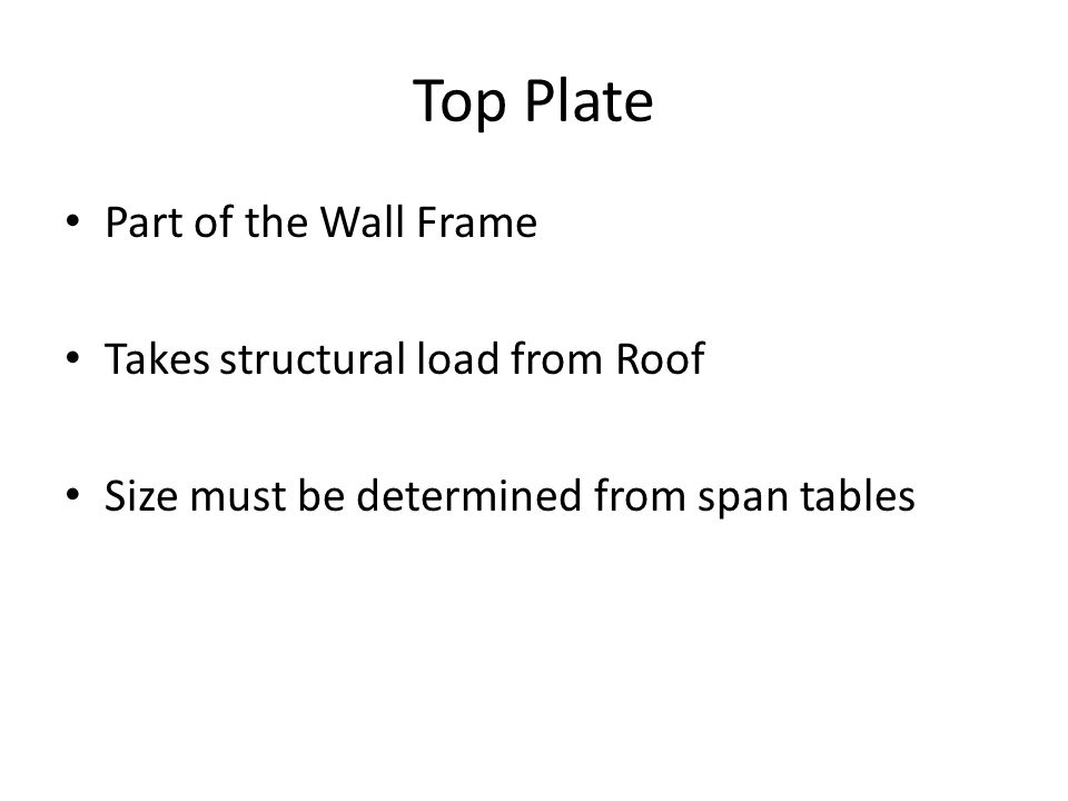 Top Plate Part of the Wall Frame Takes structural load from Roof