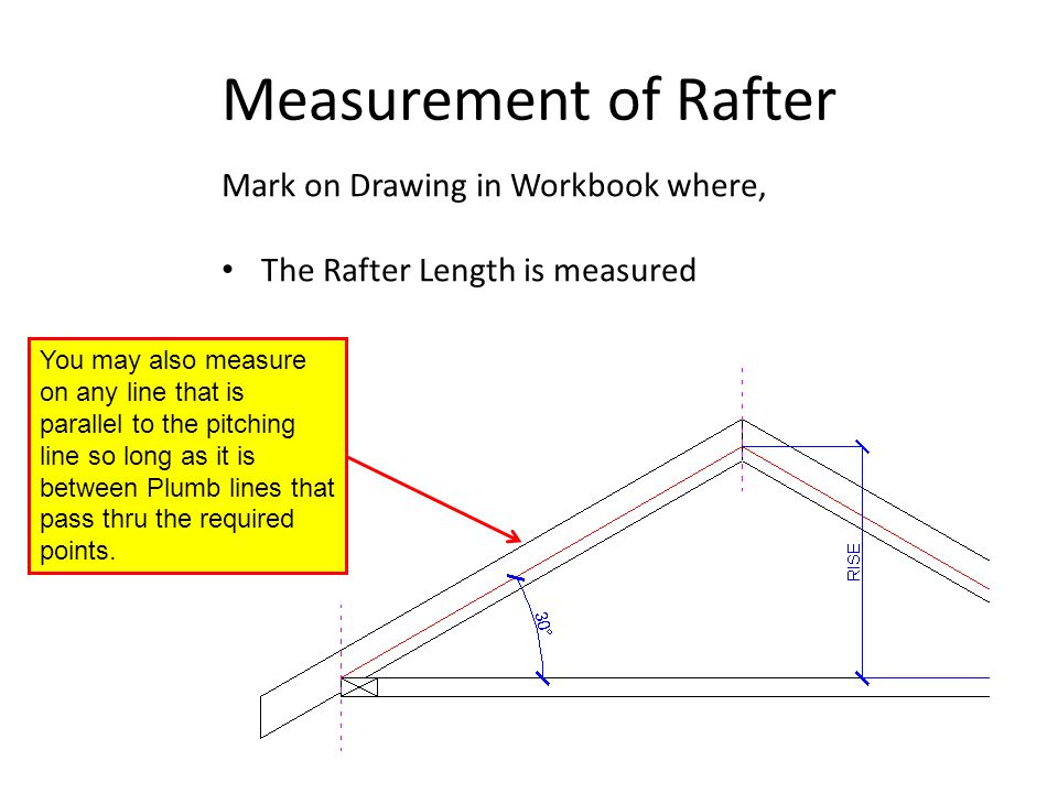 Measurement of Rafter Mark on Drawing in Workbook where,