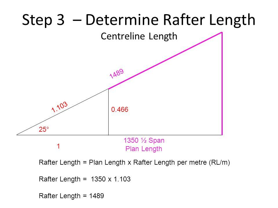 Step 3 – Determine Rafter Length Centreline Length