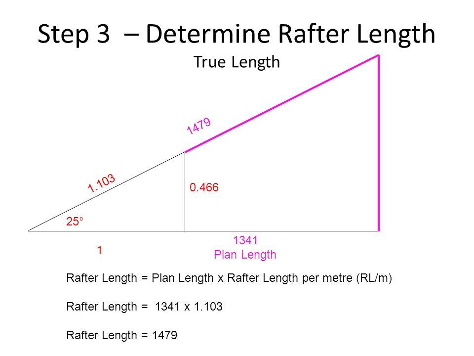 Step 3 – Determine Rafter Length True Length