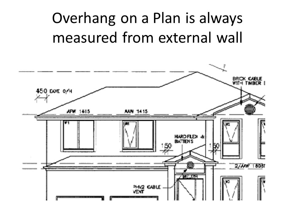 Overhang on a Plan is always measured from external wall