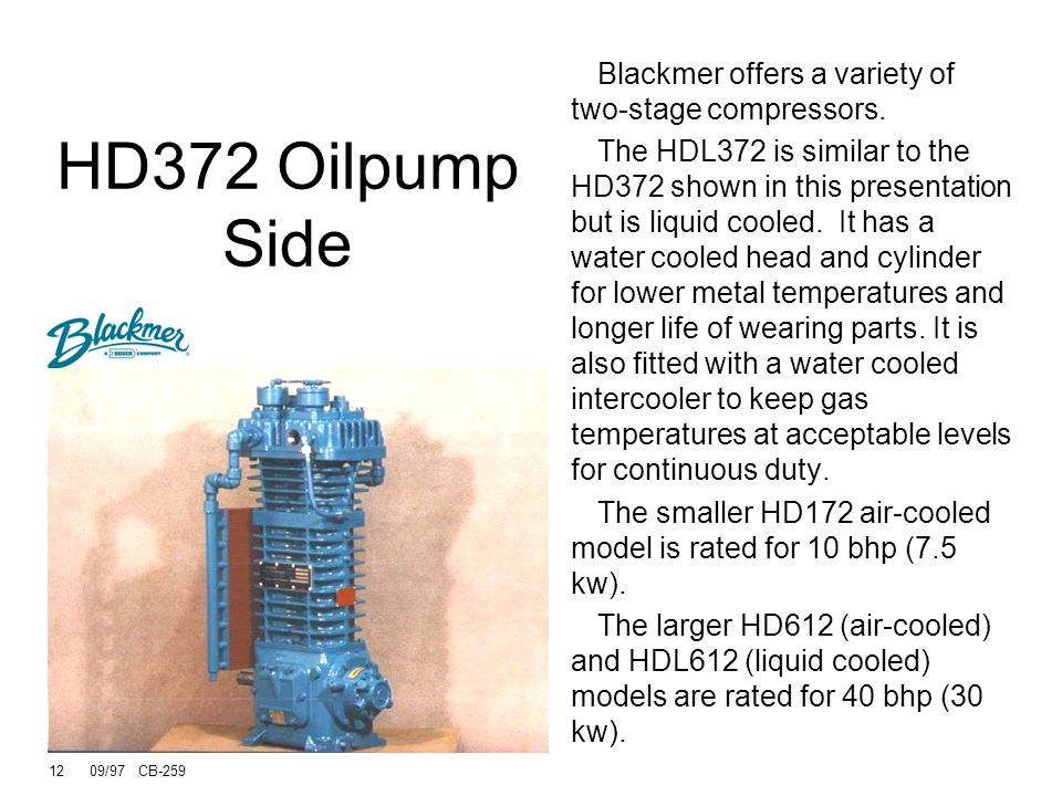 HD372 Oilpump Side Blackmer offers a variety of two-stage compressors.