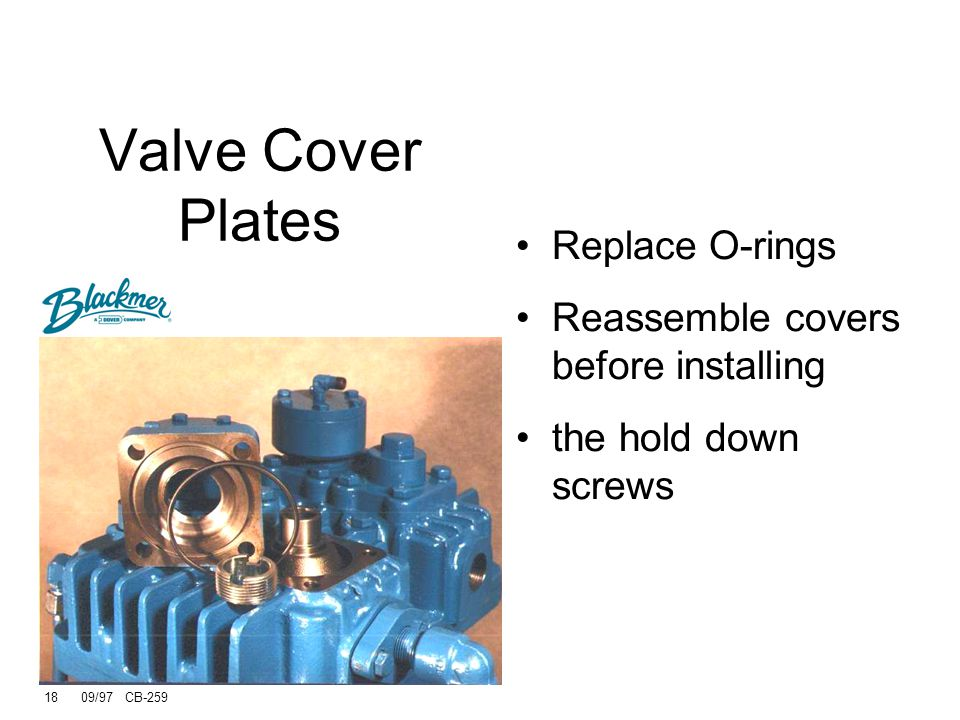 Valve Cover Plates Replace O-rings Reassemble covers before installing
