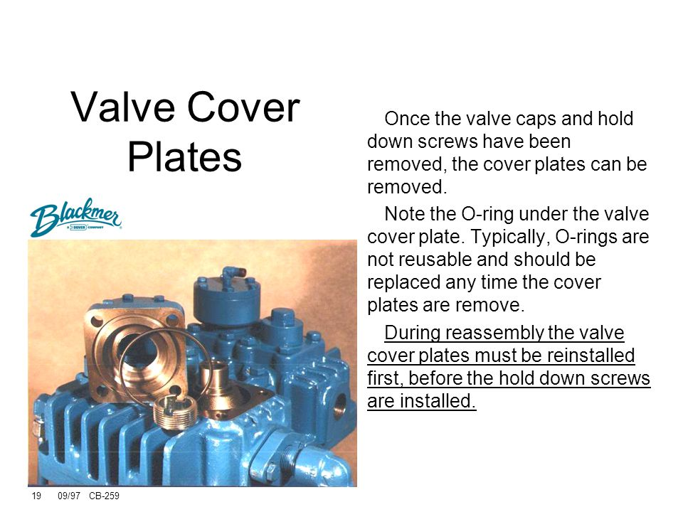 Valve Cover Plates Once the valve caps and hold down screws have been removed, the cover plates can be removed.