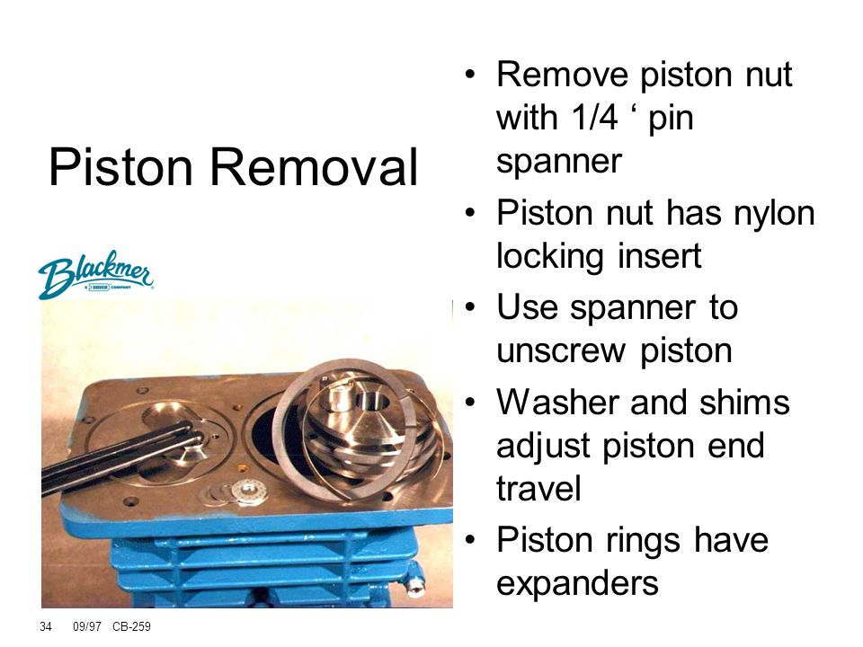 Piston Removal Remove piston nut with 1/4 ' pin spanner