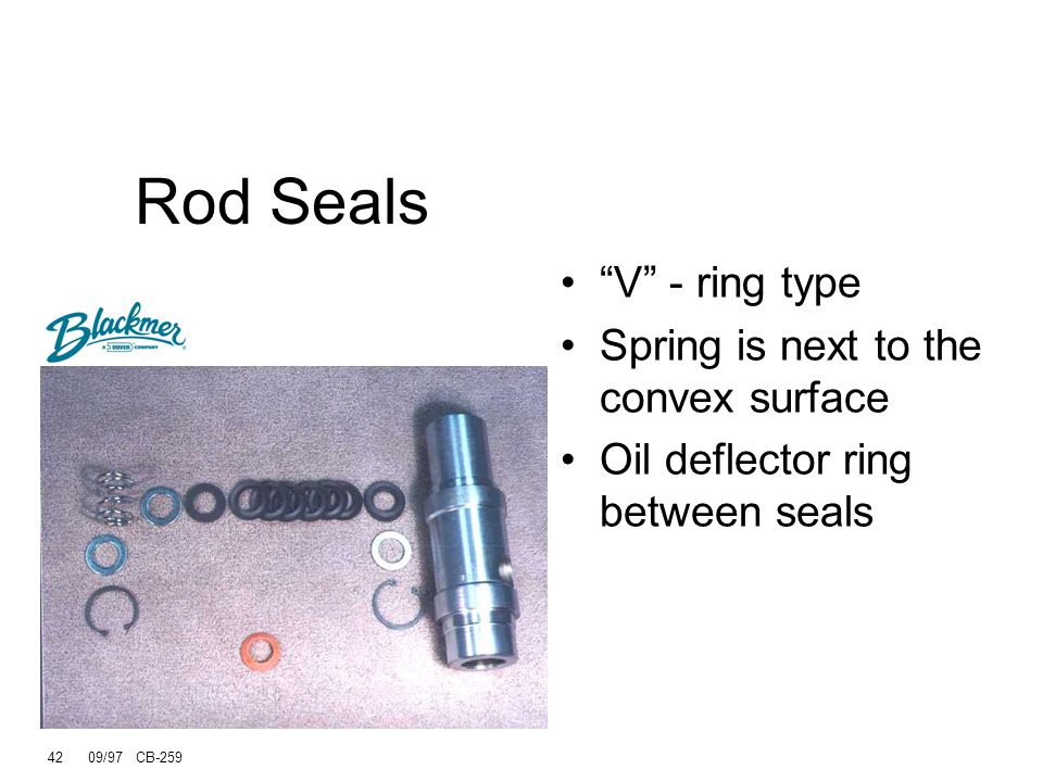 Rod Seals V - ring type Spring is next to the convex surface