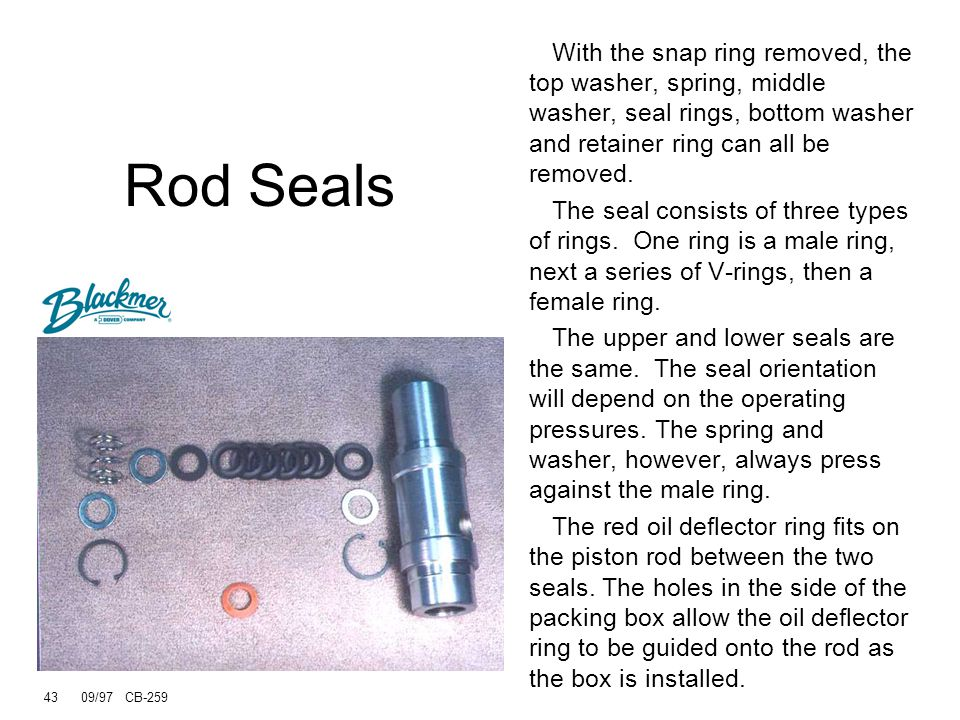 Rod Seals With the snap ring removed, the top washer, spring, middle washer, seal rings, bottom washer and retainer ring can all be removed.