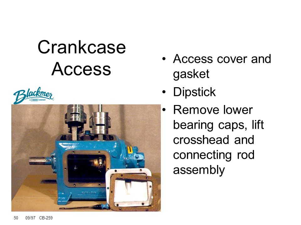 Crankcase Access Access cover and gasket Dipstick