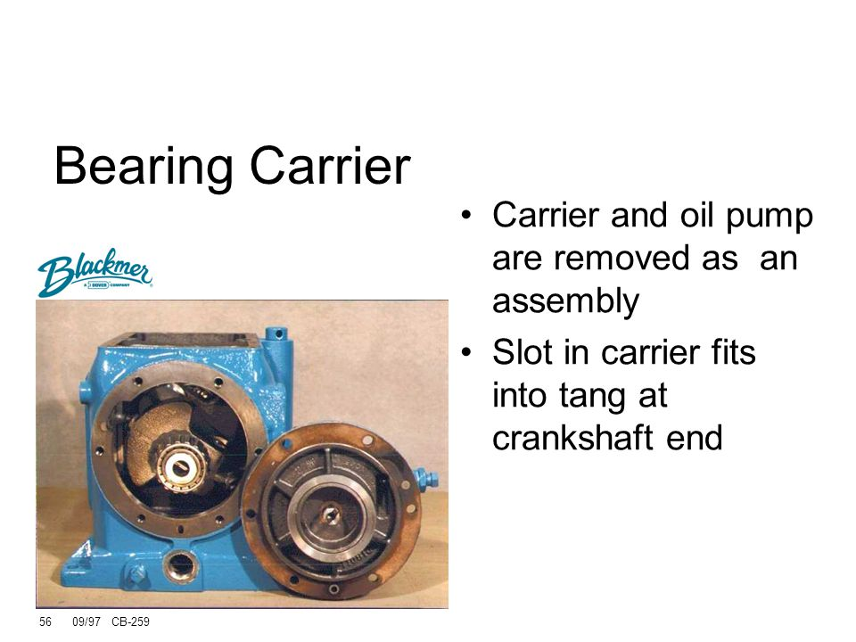 Bearing Carrier Carrier and oil pump are removed as an assembly