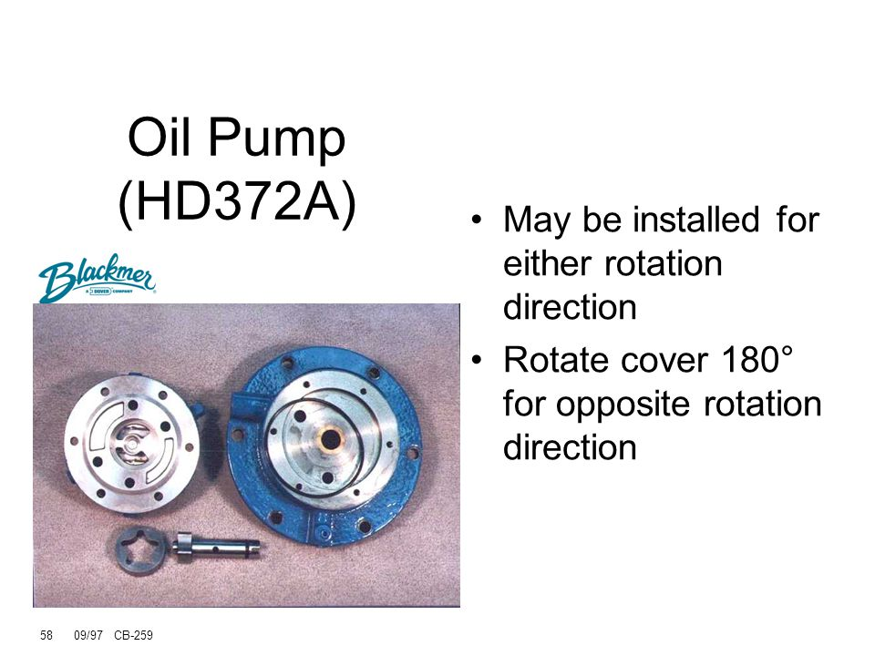 Oil Pump (HD372A) May be installed for either rotation direction