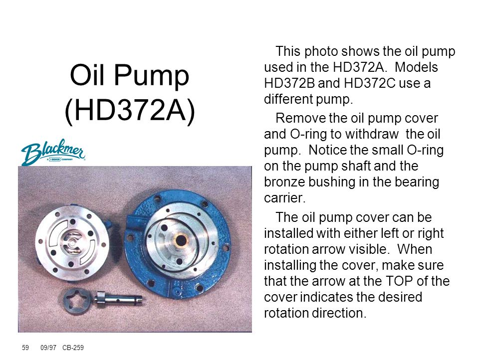 Oil Pump (HD372A) This photo shows the oil pump used in the HD372A. Models HD372B and HD372C use a different pump.