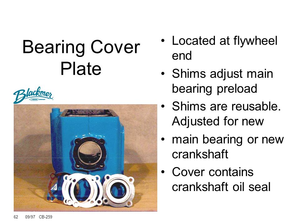 Bearing Cover Plate Located at flywheel end