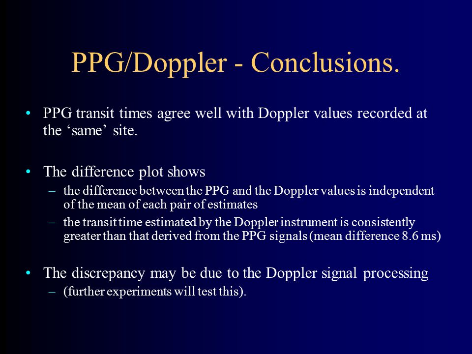 PPG/Doppler - Conclusions.