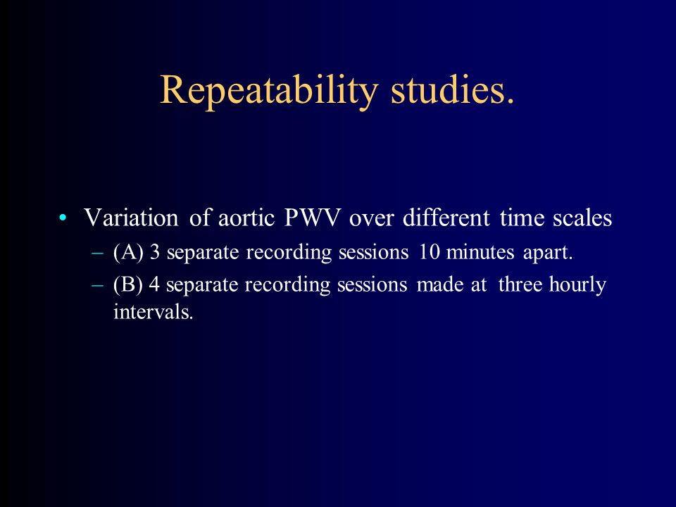 Repeatability studies.